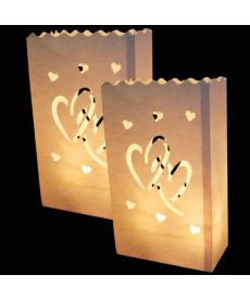 Sada svatebních lampiónů se srdíčky