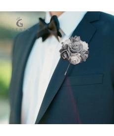 Květinová svatební brož pro ženicha