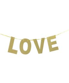 Zlatý glitrový dekorační nápis LOVE
