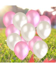 Sada perleťových balónků - bílá, růžová