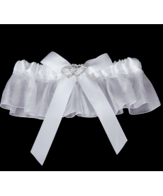 Bílý svatební podvazek
