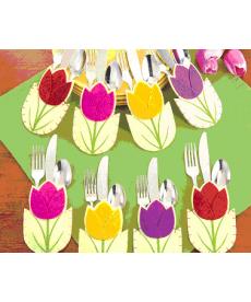 Sada dekoračních kapes na příbory - tulipány