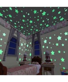 Trendy fosforeskující hvězdy - samolepky na zeď, 100 kusů