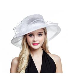 Dámský slavnostní bílý zdobený klobouk