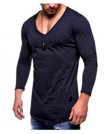 Jednobarevné módní pánské triko delšího střihu s dlouhým rukávem