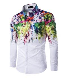 Bílá pánská košile doplněná barevnými efekty