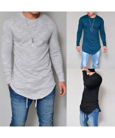 Jednoduché pánské triko s dlouhým rukávem - dlouhý střih