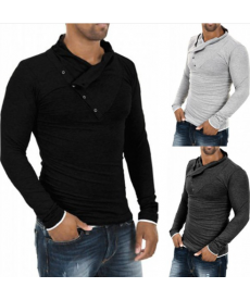 Pánské triko s dlouhým rukávem a designovým límcem