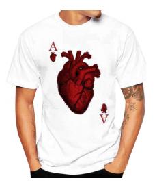 Pánské tričko v designu karty Esa a lidského srdce