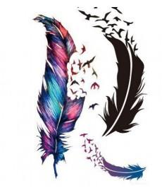 Dočasné tetování - pírka s ptáčky