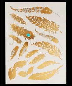 Dočasné tetování - pírka ve zlaté barvě