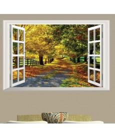 3D Samolepka na zeď - pohled z okna na podzimní park