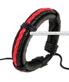 Červeno-černý kožený náramek