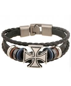 Retro kožený náramek s křížem