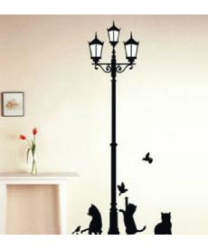 Samolepka na zeď - Lampa s kočičkami