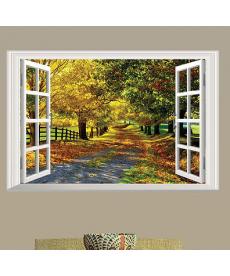 3D samolepka - okno do podzimní aleje