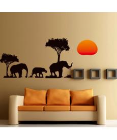 Samolepka na zeď - stádo slonů
