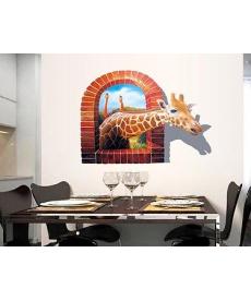 3D samolepka - žirafa v okně