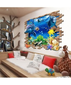 Vodní svět - nálepka na zeď 3D