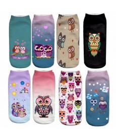 Elastické kotníkové ponožky se sovami UNI velikost