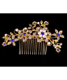 Zlatý ozdobný hřebínek do svatebního účesu