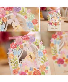 Barevná květinová svatební dárková krabička