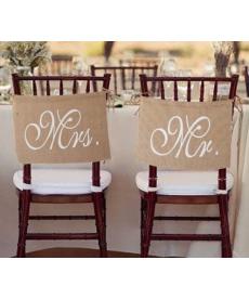 Dekorační cedule na svatební židle - Mr.&Mrs.