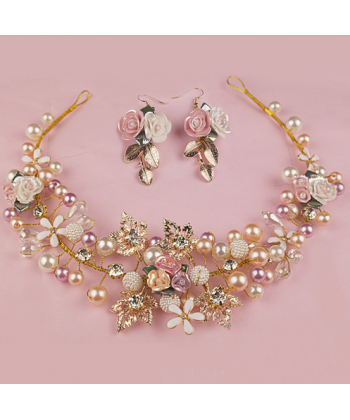 952b54c7a83 Sada svatebních šperků ve zlaté barvě náušnice a čelenka