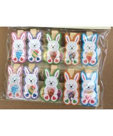 Sada dekoračních dřevěných kolíčků s velikonočním zajíčkem