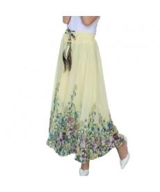 Dlouhá letní vzdušná šifónová sukně s pavím peřím