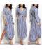 Dlouhé pruhované dámské šaty