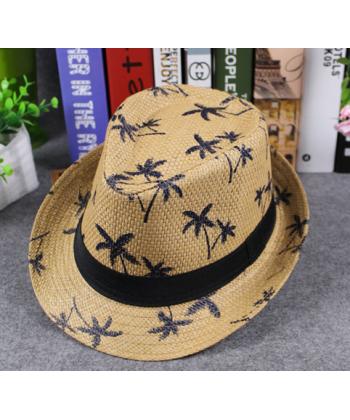 Pánský letní slaměný klobouk zdobený palmami 88ec21bc1a
