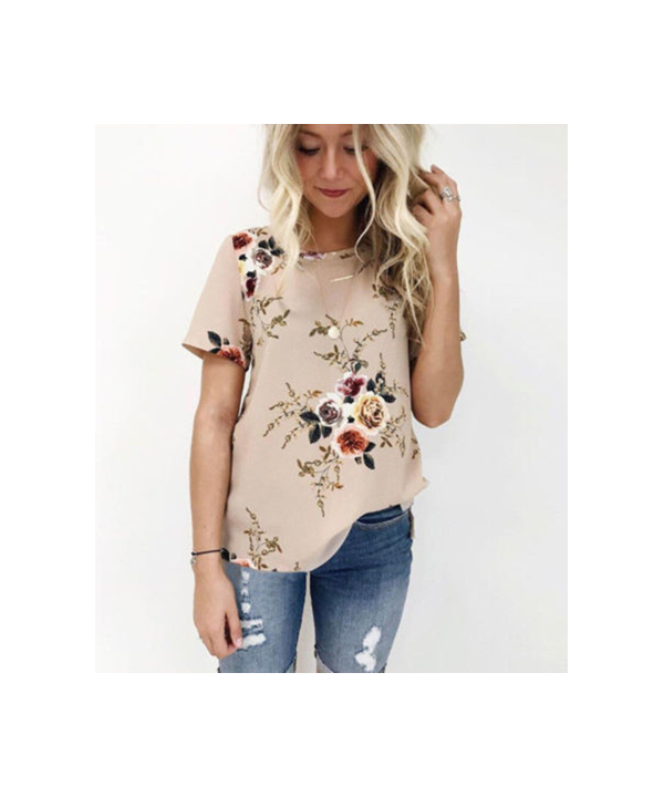 ac7cf2850e Dámské květinové tričko s krátkým rukávem ...