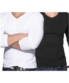 Jednobarevné pánské triko s dlouhým rukávem