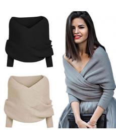 Módní dámský svetřík v překříženém designu