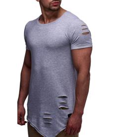 Pánské dlouhé triko s trhaným efektem
