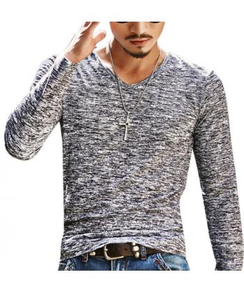 Melírované pánské triko s dlouhým rukávem