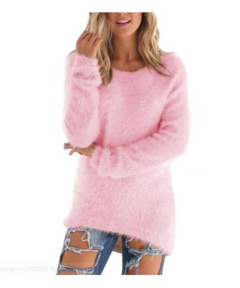 Dlouhý dámský chlupatý svetr