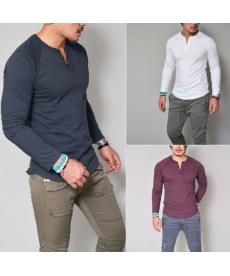 Jednobarevné pánské triko s dlouhým rukávem na rozepínání u krku