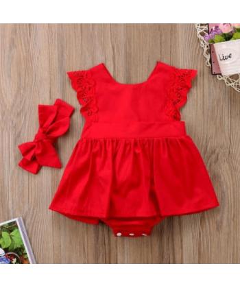 Červený kojenecký set s krajkou - šaty a čelenka