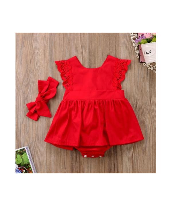 37ca8d09f Červený kojenecký set s krajkou - šaty a čelenka ...