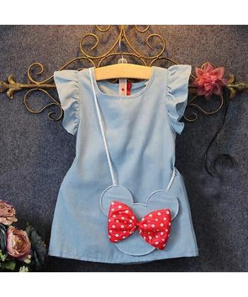 Kojenecké šaty s myškou a červenou mašlí
