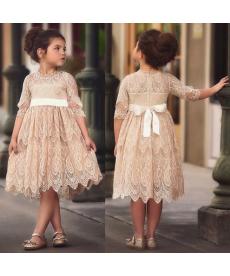 Krajkové pudrové dívčí slavnostní šaty