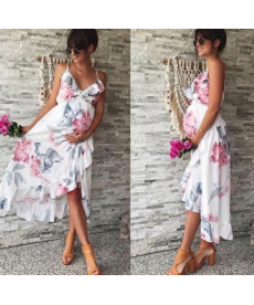 Letní dlouhé těhotenské šaty s květy
