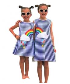 Letní šaty pro sestry s duhou