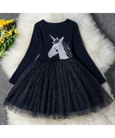 Dívčí šaty s jednorožcem v tmavě modré barvě