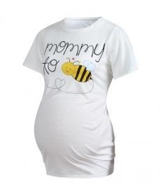 Bílé těhotenské tričko s včelkou