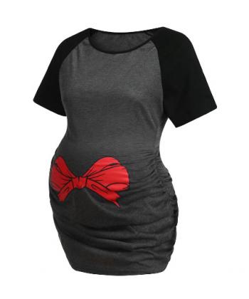 Těhotenské tričko s mašlí na břiše
