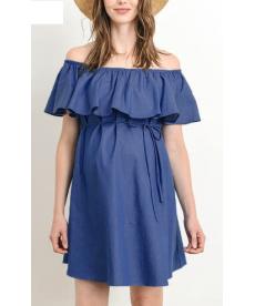 Těhotenské šaty s volánem v džínovém stylu