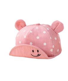 Novorozenecká čepice s puntíky a ušima